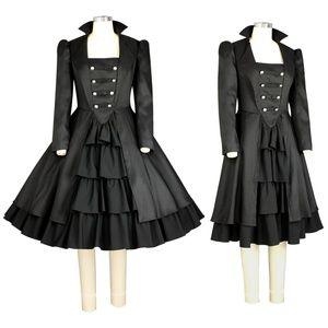 Plus Size Long Sleeve Ruffle Goth Dress Black 18 NWT